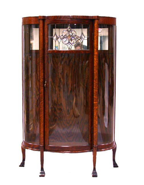 3007: CURVED GLASS CHINA CUPBOARD. N/R. Centr