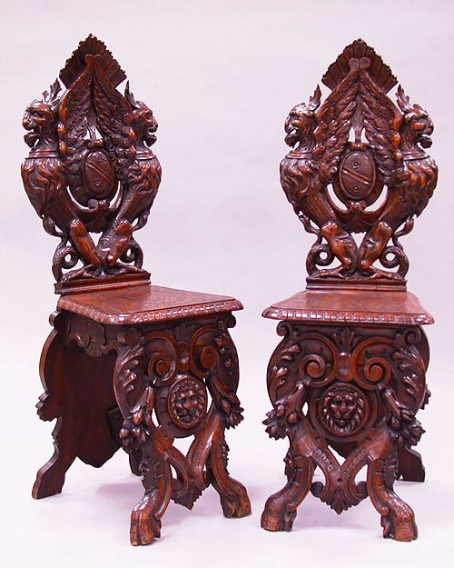 3012: 3012 HIGHLY CARVED GRIFFIN CHAIRS. Back