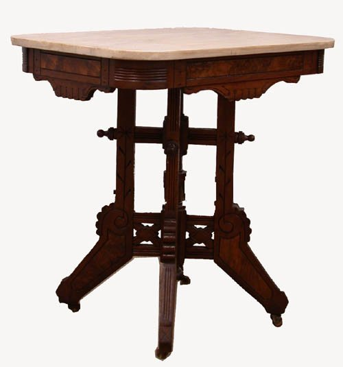 3020: VICTORIAN MARBLE TOP PARLOR TABLE. Whit