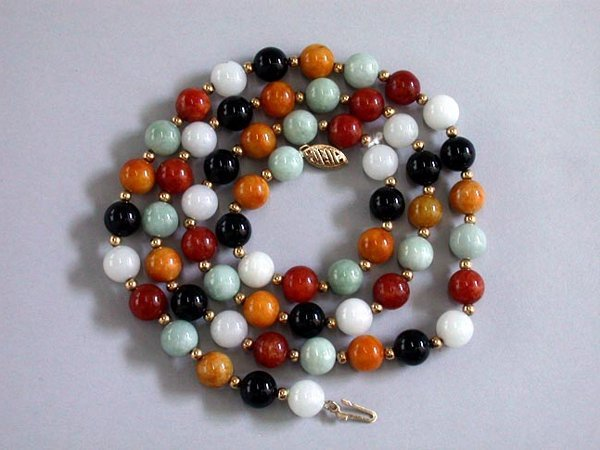 11: 14K HARDSTONE NECKLACE N/R. The necklace
