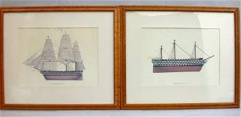 1525: PAIR OF SHIP POSTERS. 20th c.  Posters