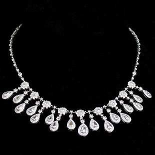 18K DIAMOND NECKLACE. The white gold ne