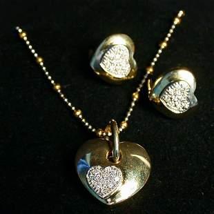 14K DIAMOND HEART SET. The three piece