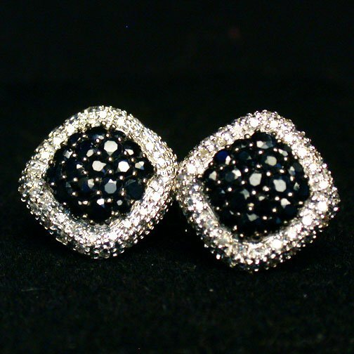 2005: 14K SAPPHIRE EARRINGS. The white gold e