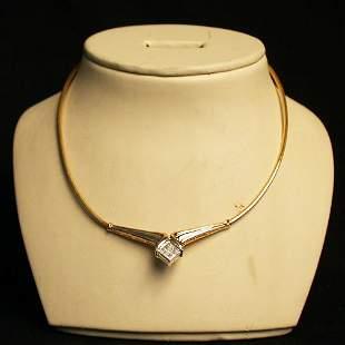 14K DIAMOND NECKLACE. The gold segmente