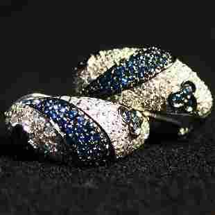 14K SAPPHIRE EARRINGS. The white gold e