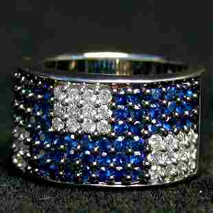 14K SAPPHIRE & DIAMOND RING. The white