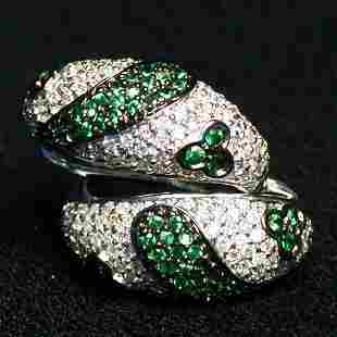14K GREEN SAPPHIRE EARRINGS. The pave d