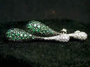 GREEN SAPPHIRE DROP EARRINGS. The green