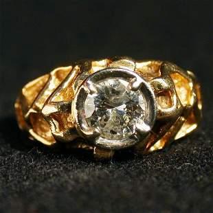14K MAN'S DIAMOND RING. The ring has a