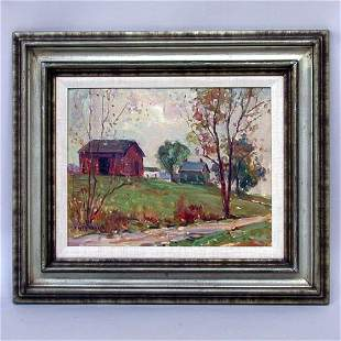 EARL W. NORTH; COUNTRY ROAD PAINTING
