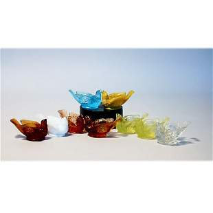 4004: NINE GLASS BIRD CANDLESTICK HOLDERS.