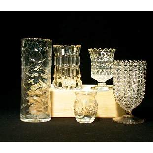4011: FIVE ASSORTED GLASS VASES