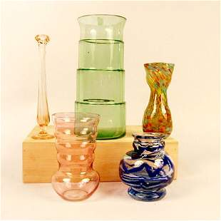 4013: FIVE COLORED GLASS VASES