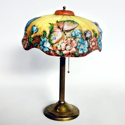 4299: PAIRPOINT REVERSE PAINTED PUFFY LAMP.