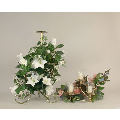 1001A: TWO SILK FLOWER & CANDLE ARRANGEMENTS.