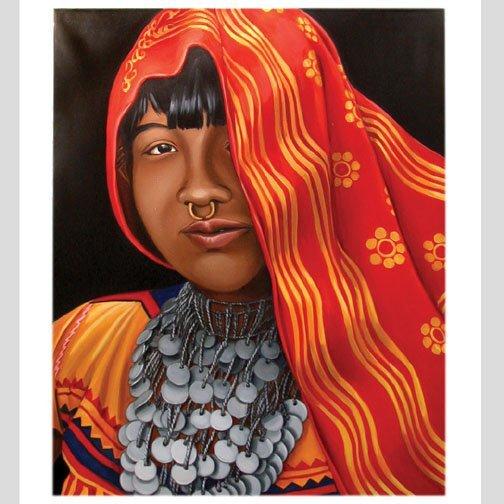 1553: LISA MILROY PERUVIAN GIRL OIL. Dated 19