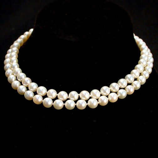 2024: DOUBLE STRAND PEARL NECKLACE. The neckl