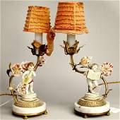 2151: PAIR PORCELAIN LAMPS. N/R. Pair of boud
