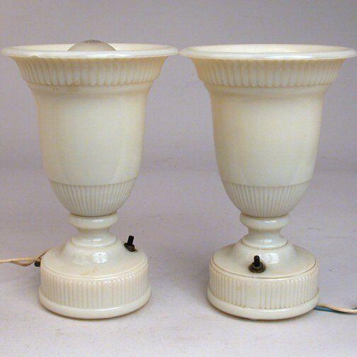 PR MOLDED GLASS BOUDOIR LAMPS.