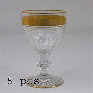 5 CUT GLASS WINE GOBLETS.