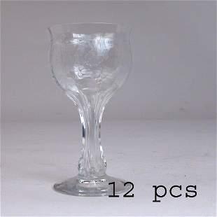 12 DEPRESSION WINE GLASSES.