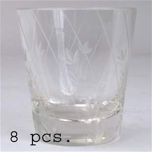 8 CUT GLASS ROCK GLASSES.