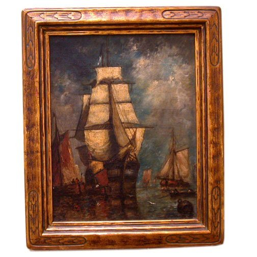 924: P.J. CLAYA SHIP PTG OIL ON CANVAS