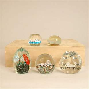 FIVE PAPERWEIGHTS