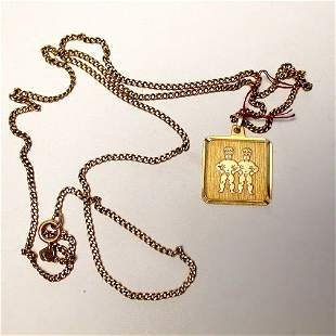 9K TWINS ENGLISH NECKLACE