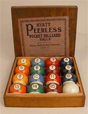HYATT PEERLESS BILLIARD BALLS