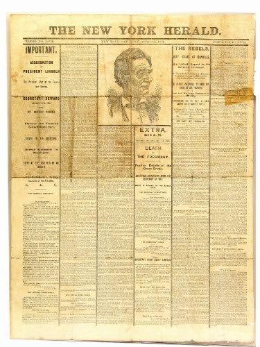 2613: C. 1870-1900 N.Y. HERALD LINCOLN DEATH NEWSPAPER