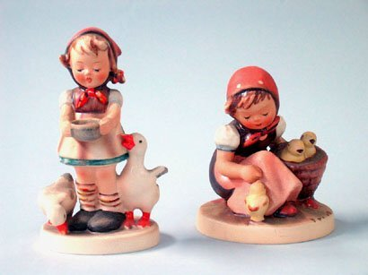 2623: 2 HUMMEL FIGURINES.  (1) Goose Girl, marked with