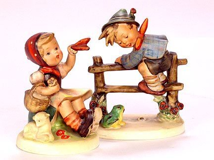 2624: 2 HUMMEL FIGURINES. (1) Boy on fence with frog