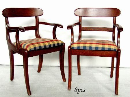 2820: EIGHT CHERRY CHAIRS.  Two armchairs and six side