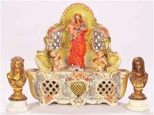 3 RELIGIOUS FIGURINES. (1) German ceramic music b