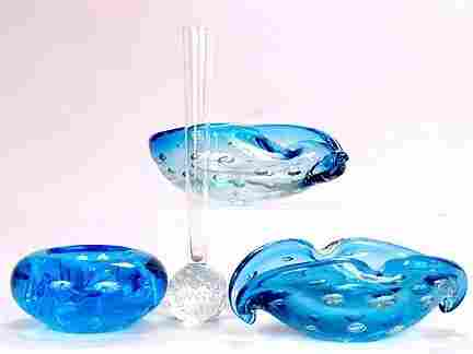 THREE GLASS ASHTRAYS & VASE. One is a tear drop-s