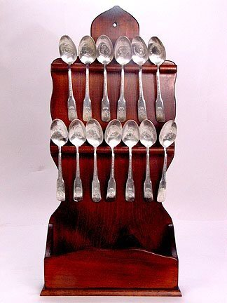 3215: BICENTENNIAL SPOONS IN STAND. Wooden stand with 1