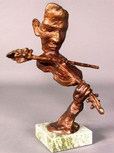 3226: VIOLINIST SCULPTURE BY BURN. Bronze colored metal