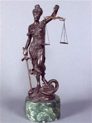 BRONZE FIGURE OF JUSTICE. Blindfolded female figu