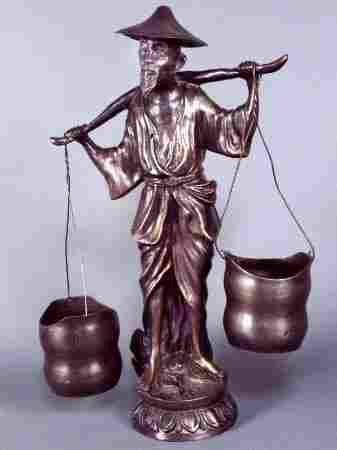 BRONZE FIGURE OF PEASANT. Bronze figure of barefo