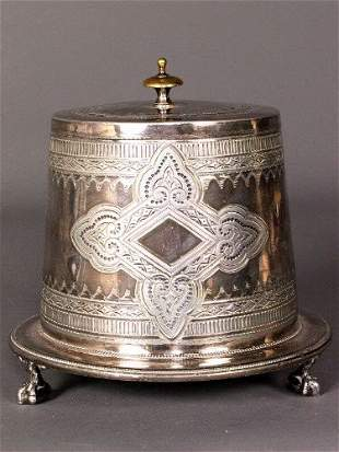 ENGLISH SILVER LIDDED CONTAINER. Victorian silver