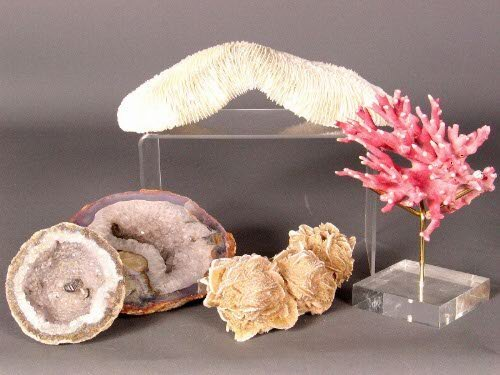 3233: 5 ITEMS FROM NATURE. 2 geodes, one 3 1/4'' diam.;