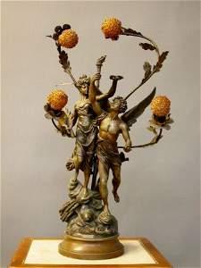 3564: FRENCH FIGURAL LIGHT.  Art Nouveau period.  Pot m