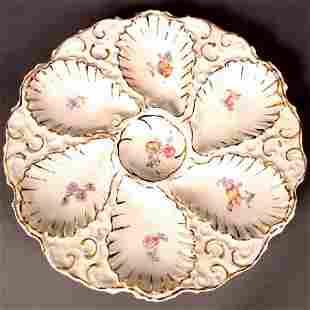 GERMAN OYSTER PLATE. German porcelain oyster plat