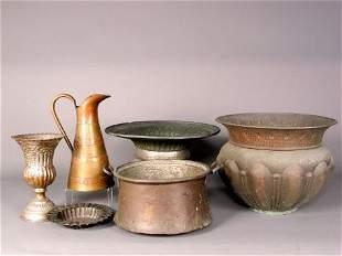 6 METAL ITEMS (1) Two handled copper pot. No mark
