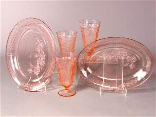 5 ''CABBAGE ROSE'' DEPRESSION GLASS ITEMS. 5 pink