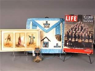 7 MASONIC ITEMS. (1) Masonic apron from Dallas Lo