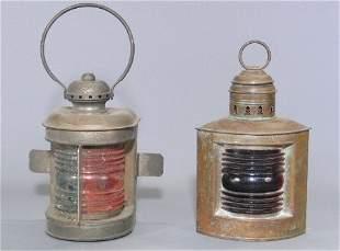 TWO RAILROAD LANTERNS. 1. Corner lantern, ribbed