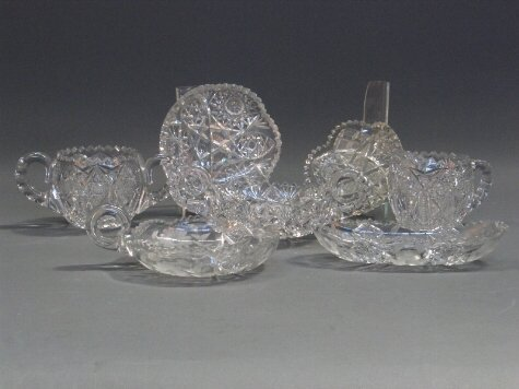 1027: 7 PIECES CUT GLASS. 7 unsigned cut glass items. 1